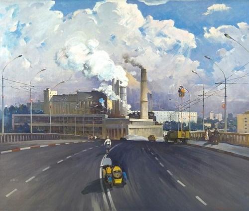 Igor Limakov (1932 - 1994). Morning of industrial Tashkent. 1977