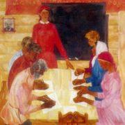 KE Yefremov (b. 1933) Educational program. 1969. Oil on canvas