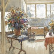 Konstantin Gorbatov (1876-1945). Interior with a bouquet of summer flowers. 1941