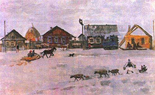 L. Semyonov. Day in Orongoe. Oil. 1987