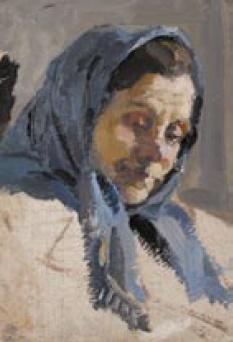 Lel Nikolayevich Kuzminkov. Portrait of a woman in a blue headscarf. 1960s