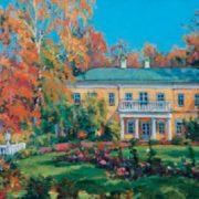 Leonty Mazanov (1902 - 1982). Lenin Hills. Oil on cardboard. 1950