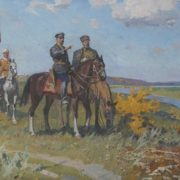 Lev Khodchenko (1912). Shchors and Bozhenko. 1969. Oil on canvas