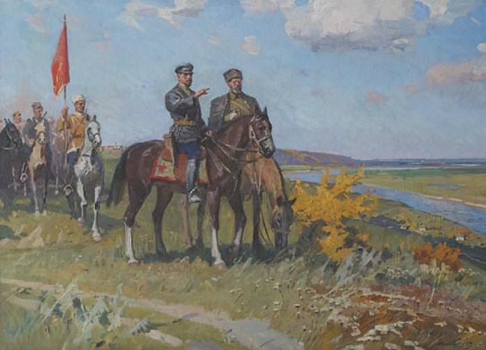Lev Khodchenko (1912). Shchors and Bozhenko. 1969. Oil on canvas