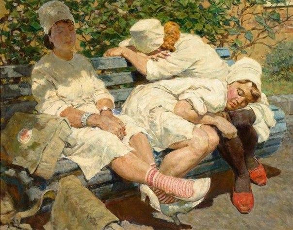 Lev Kotlyarov (1925-2007). Nurses. Rest after duty. 1956