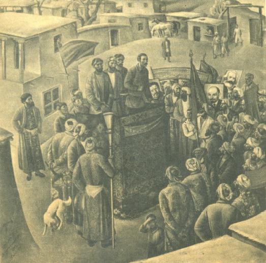 M. Abdurakhmanov. Proclamation of the Tajik SSR. 1977