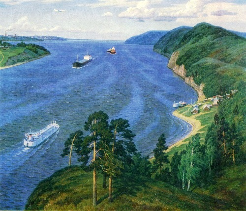 M. Petrov. Over the Volga. 1985