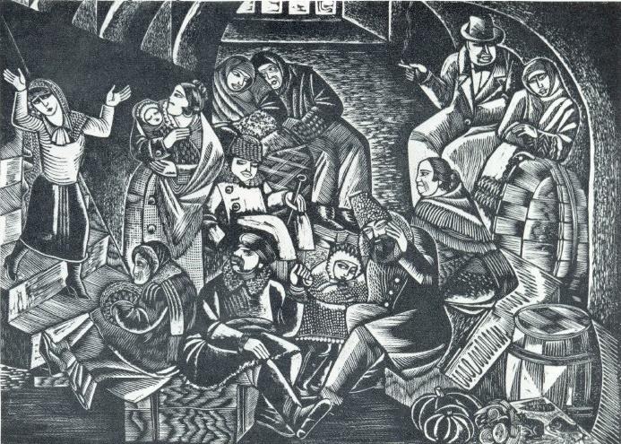 M.E. Kotlyarevskaya. The inhabitants of the civil war. Engraving on linoleum. 1930