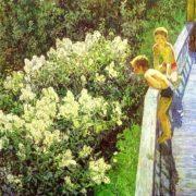 MK Kopytseva. Summer day. Lilac blooms. 1981. Oil on canvas