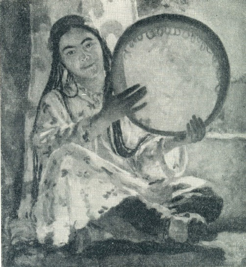 N. Kashina. A Girl with a tambourine. 1945