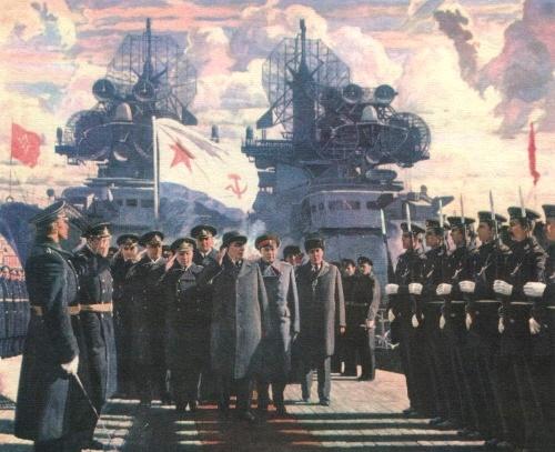 N. Solomin, N. Denisov. Under the flag of our country. On the cruiser 'Senyavin'. Oil. 1978