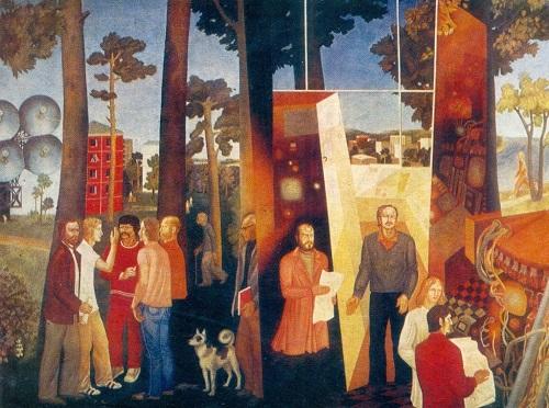NA Tolpekina (b. 1949), Ya Ya Yakovlev (b. 1947) Young Scientists of the Novosibirsk Akademgorodok. 1976 oil on canvas