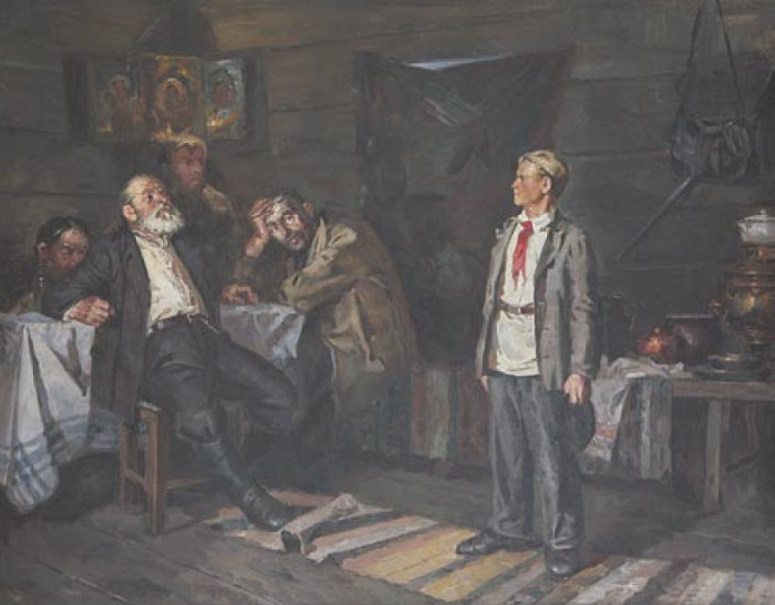 Nikolay Fyodorovich Karnatykh (1908-). Pavlik Morozov. Discussion with father. 1970