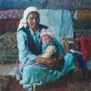 An Old woman with her grandson