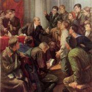 Lenin among the delegates of the III Congress of Komsomol. Oil. 1947