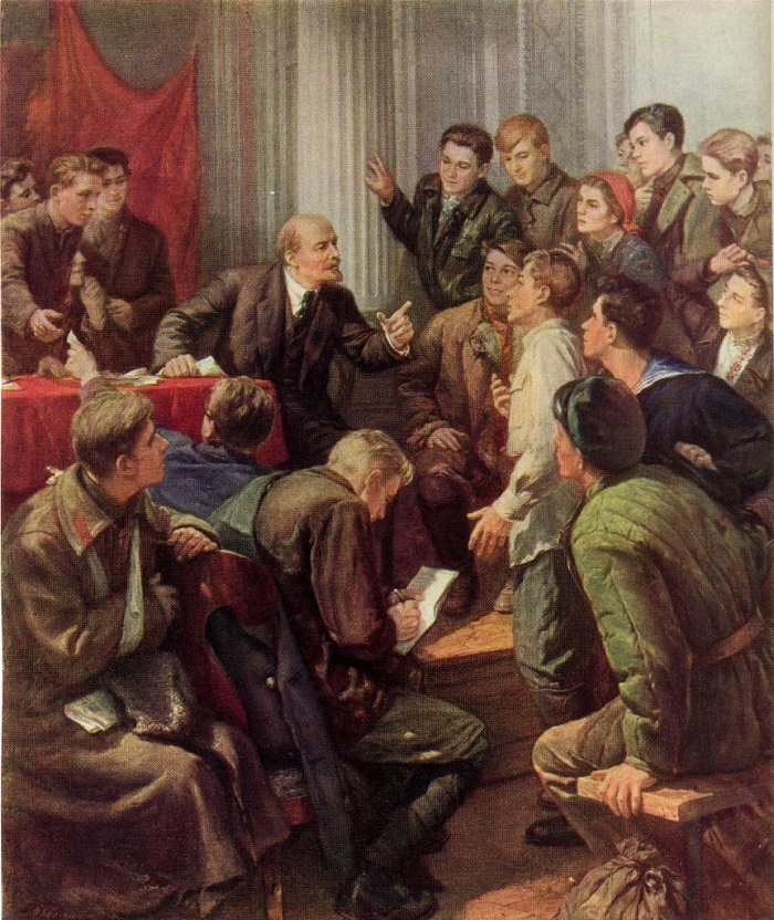 Lenin among the delegates of the III Congress of Komsomol. Oil. 1947