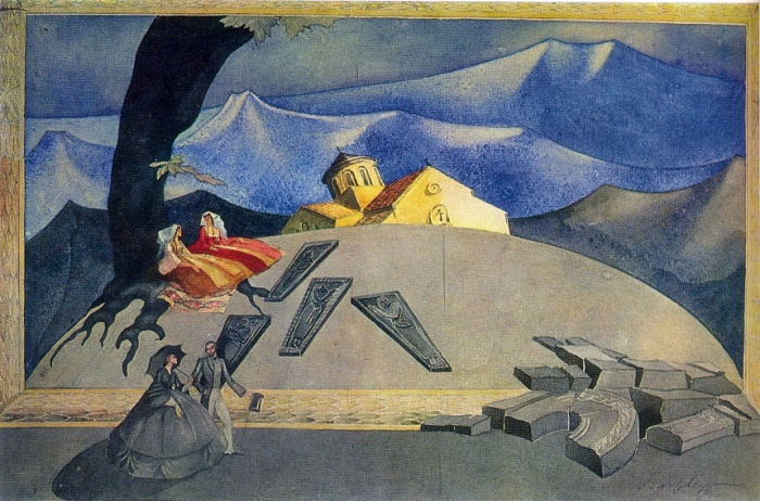 P.G. Otskheli. Sketch of scenery for the play Sh.I. Dadiani 'Broken Bridge'. Watercolor, gouache. Theater named after K.A. Mardzhanishvili. Tbilisi. 1935
