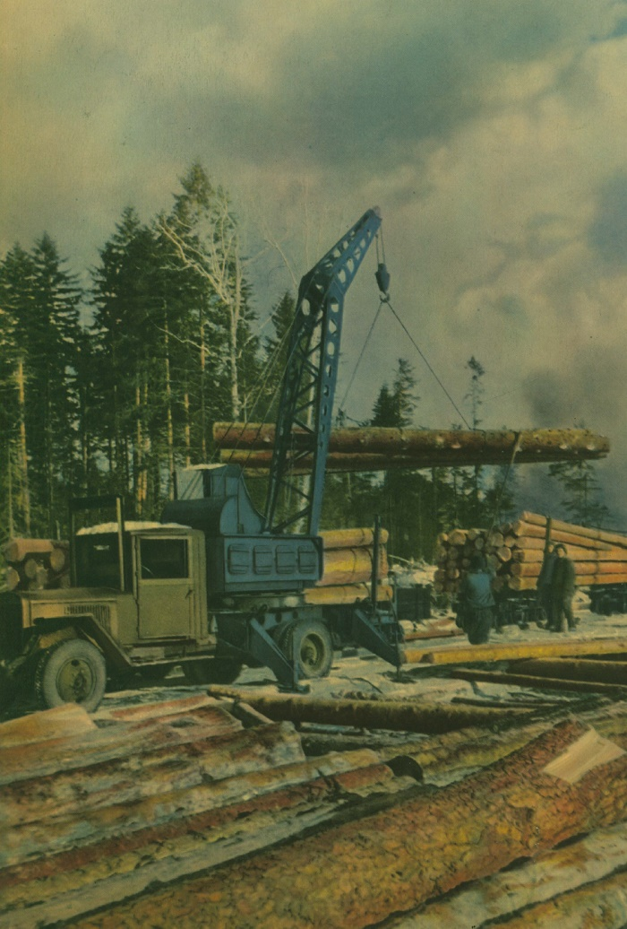 Poronaisk Forestry on Sakhalin Island. As elsewhere in the USSR, logging here is mechanized and equipped with modern domestic machinery