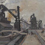 Pyotr Bortnov (1918). At the Taghil plant. 1969. oil on canvas