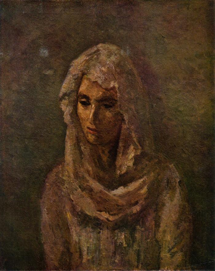R.R. Falk (1886-1958). In a white shawl (A.V. Shchekina-Krotova). 1947. Oil