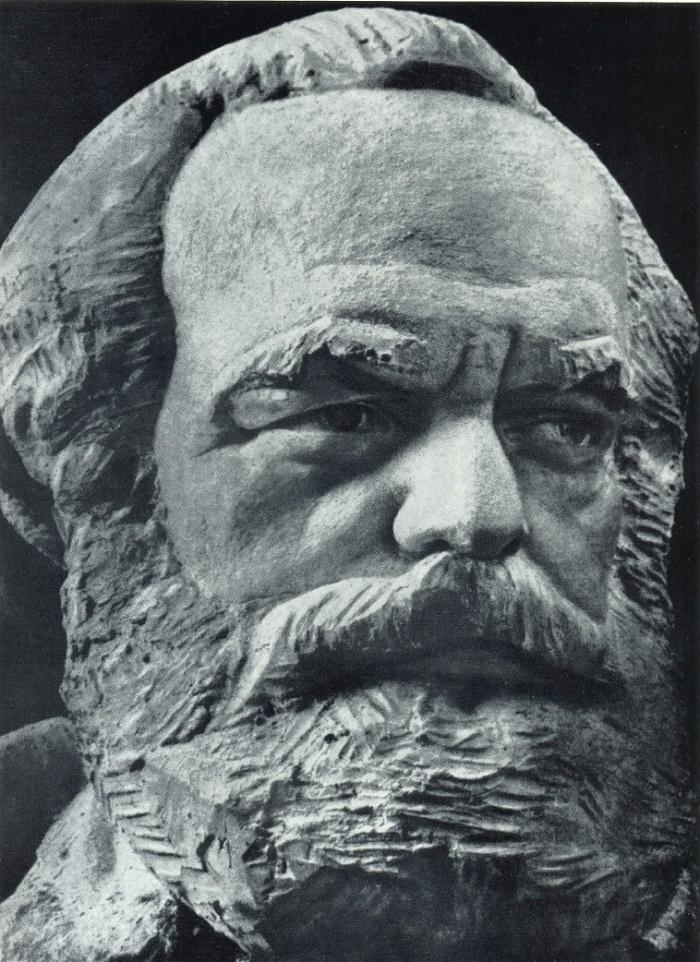 S. S. Alyoshin. Co-authors S. Koltsov, S. Mezentsev, G. Kepinov. Fragment of the model of the monument to Marx in Moscow. Gypsum 1920-1925