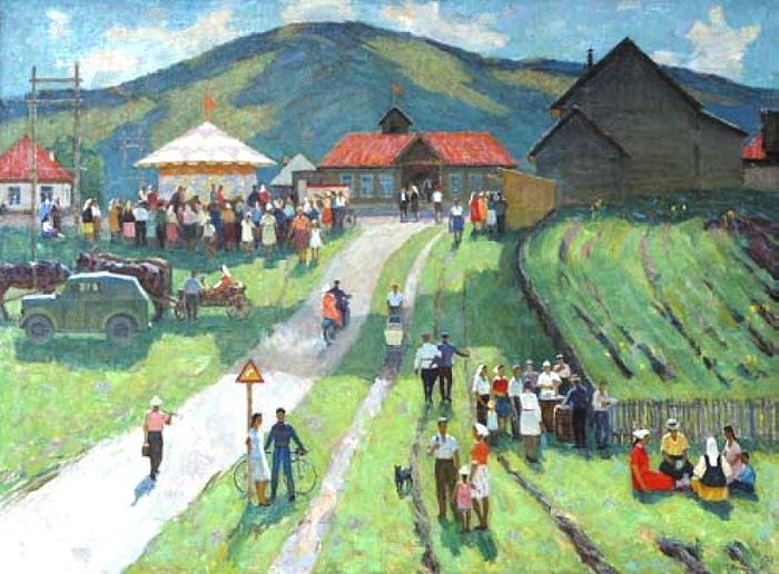 S.B. Kachalsky. Village festival in Baskiria. 1969. Oil on canvas