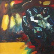 Silvestras Vintsevich Dzhyaukshtas (born 1928). Refugees - II. 1969-1981. Oil on canvas