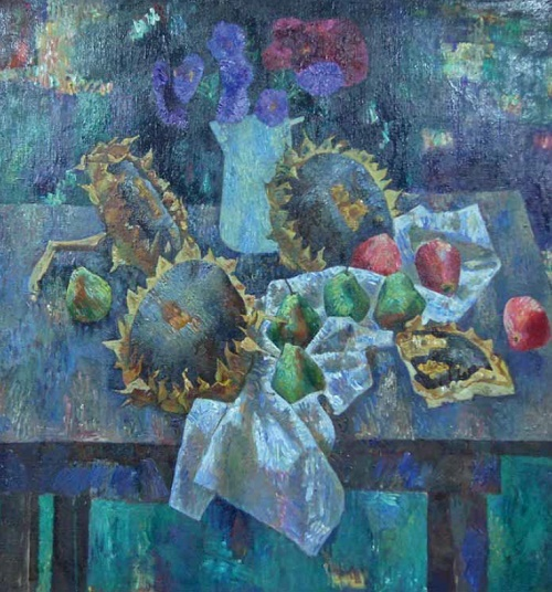 Still life with sunflowers. 1983. Artist A.M. Sorochkin