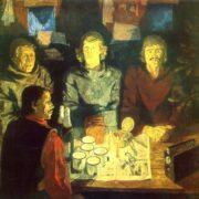 TA Chepikova (Leningrad). New Year. 1980-1981. Canvas, oil