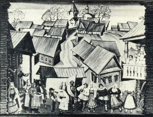 V. Belykh. Sketch of scenery 'For the wedding' (dir. V. Sadovnikov). 1984
