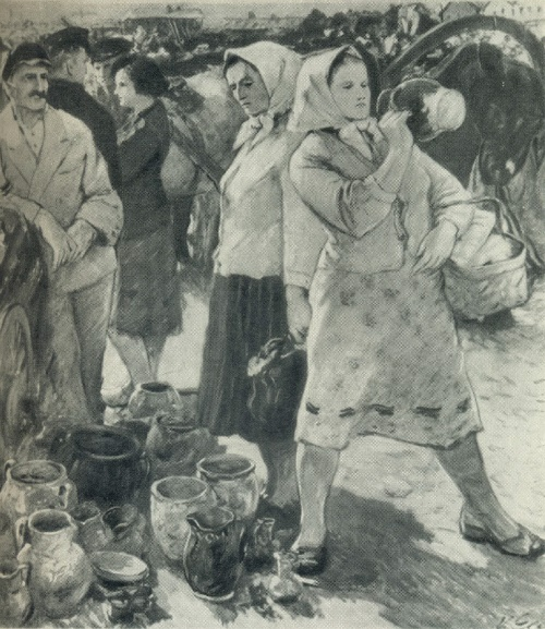 V. Gechas. At the collective farm market. 1959. Oil