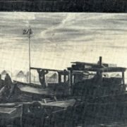 V. Glazkov. Evening on the River raid. Canvas, oil. 1985