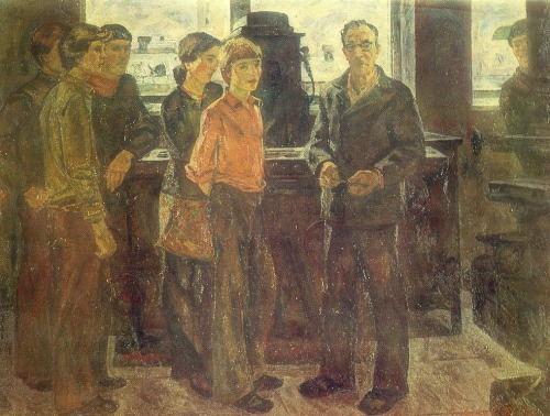 V. Goltsov (Moscow region). Trainer with pupils vocational schools. 1980. Oil on canvas