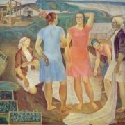 V. Petrov (b. 1942) Collective farm spring. 1976. Oil on canvas