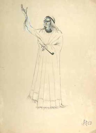 V.M. Briskin. Witch with a stick. 1941