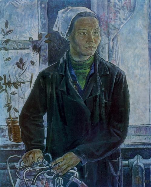 VA Rudenchenko (Ufa). Portrait of milkmaid Shaehmurzina. 1981. Oil on canvas