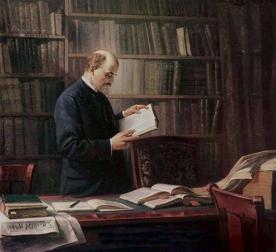 VI Lenin at work on the book 'Materialism and Empirio-Criticism' in the Geneva Library