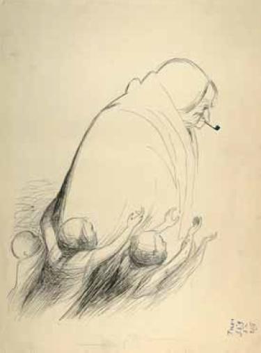 Veniamin Briskin. Witch. 1940. Ink, paper