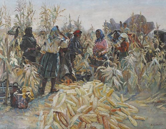 Vera Nikolayevna Senatayeva (1900). Corn harvest. 1963