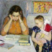 Vladimir Kochunov (1929-2011) Mom preparing for an exam