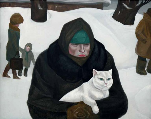 Woman with a white cat. 1987. Artist K.I. Yevteyev