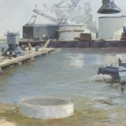 Ye.I. Ivanov. Works in the harbour. 1960. Oil on canvas