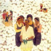 Yigitali Tursunnazarov (born 1941) Young cotton growers. 1976. Oil on canvas