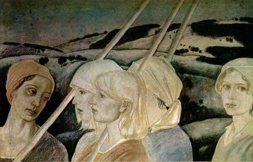 Yu Zubenko. The land and the people. Tempera. sketch of the fresco. Young artist 12-1983