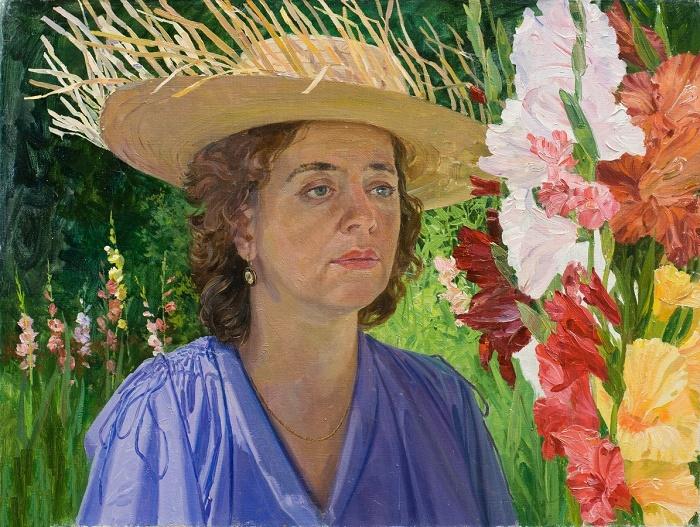 Galya with gladioluses. 1976