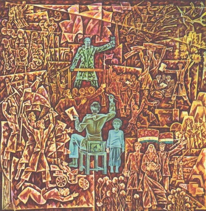 Lenin. Revolution. Artists. 1977. Tempera. S. Kurbanov (b. 1946)