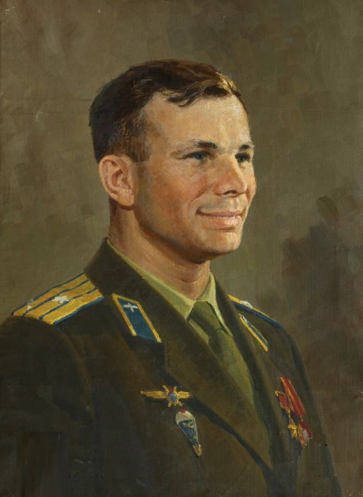 Portrait of the first cosmonaut of the Earth Yuri Alekseevich Gagarin, 1961