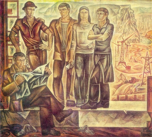 Youth of Tajikistan. 1976 oil on canvas. Painting by S. Kurbanov (b. 1946)