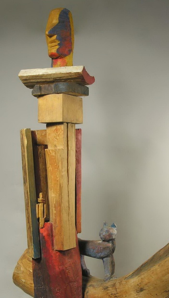 A. Pologova. Interior in the workshop with blue cat. 1977. Wood, painted