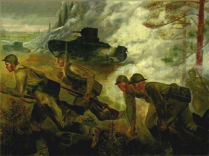 Attacking tanks. 1933